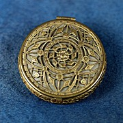 Antique VERY ORNATE Gold Compact with Markings