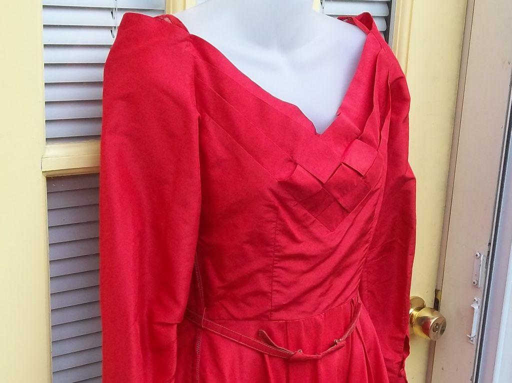 Vintage 50's Fifties Ceil Chapman Red Rockabilly Silk Dress Couture Estate