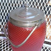 Antique Cranberry Art Glass Biscuit Jar Quilted English Silver Stunning