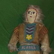 Antique Eskimo Early Inuit Folk Art Alaska Souvenir Doll Beaded Leather Fur Original Old Stand Estate