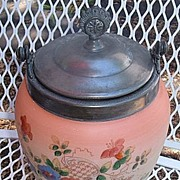 Antique Art Glass Handpainted Biscuit Jar English Silver Pink Peach Colors Beautiful