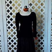 Vintage Rive Gauche Couture Yves St Laurent Black Velvet Opera Night Long Sleeved Two Piece Long Dress Exquisite Size 42 European