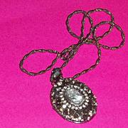 Vintage Signed Hobe Cameo Locket Necklace Rhinestones GORGEOUS bride groom