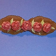 Vintage Art Deco Era Applejuice Bakelite Pink Flower Seashell Bar Pin Brooch Estate