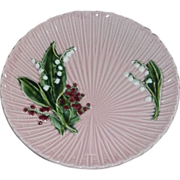 Large  Charger Plate Pink Flowers Lilly Valley  German Majolica Estate