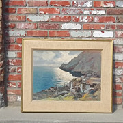 Listed Artist Oil Painting Canvas Mario Maresca Coastal Scene Italy Italian