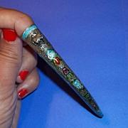 Vintage Oriental Nail Guard Silver Enamel Estate Pin Brooch Upcycle