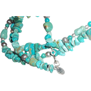 Southwestern Turquoise STERLING Necklace Carolyn Pollack Relios LONG LONG