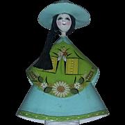 True vintage  Mexico Mexican folk art signed mache doll LARGE estate