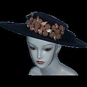 True Vintage Paris Couture Edwardian Hat Chapeau estate black straw racial FABULOUS