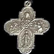True Vintage Sterling Silver Catholic medal Pendant 4 way Cross I am Catholic estate