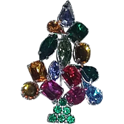 Christmas Tree rhinestone pin brooch Radko