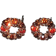 True Vintage Signed Weiss Rhinestone earrings Amber Orange Gold tone Clips