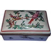 Antique French Faience Porcelain China Dresser Box Birds Insects Hand painted