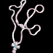 Peretti for Tiffany Co Sterling Silver Necklace Sterling Cross Australian Opal estate