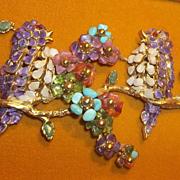 Hollywood Regency Style RARE SWOBODA Bird gem picture semiprecious stones  Think Spring