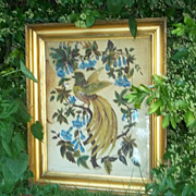 Antique 1800's Theorem Painting Large Velvet Bird High End Collector's Estate