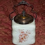 Gorgeous Antique Wavecrest Wave Crest Biscuit Cookie Jar Large Size Ornate Art Glass Victorian