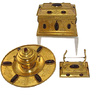 Gilt Bronze & Garnet 3 Piece Desk Set: Stationery Casket, Inkwell & Pen Tray