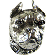 SALE Vintage Sterling Silver French Bulldog or Boston Terrier Large Pin Brooch