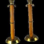 """Pair Vintage Art Deco Yellow Bakelite & Brass Candlesticks 14"""" Marbleized"""