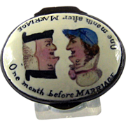 SALE Battersea Bilston Enamel – Marriage Before After - Patch Box C 1780