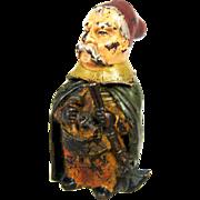 SALE Cold Painted Bronze Man Match Holder, Safe, Vesta - c 1890
