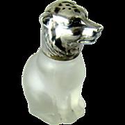 Vintage Glass & 830 Silver Figural Bear Salt or Pepper Shaker