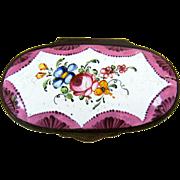 SALE Battersea Bilston English Enamel Snuff Box – Roses - C 1780