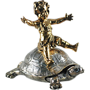 REDUCED Bronze Girl Riding Turtle, Dore Bronze – Christofle – C 1890