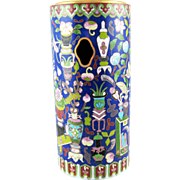 "SALE Meiji Chinese Fine Cloisonne Cylinder Hat Stand – 12"""