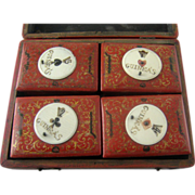 SALE 18th C English Games Box with Counter Boxes