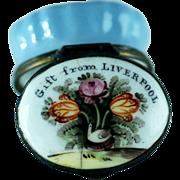 Battersea Bilston Enamel Patch Box - Gift from Liverpool – Flowers - C 1780