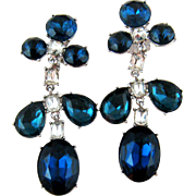 SALE Kenneth J Lane Large Blue and White Rhinestone Earrings