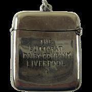Antique Advertising Match Safe, Vesta –Buttapat Dairy Company