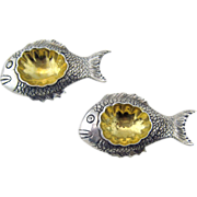 Pair Antique FISH Figural Open Dip Salt Cellars - 800 Silver