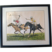 SALE Vintage Polo Hand Colored Etching - Artist Signed