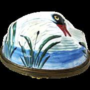 SOLD Battersea Bilston Enamel SWAN Rare Bonbonniere Box – Circa 1780