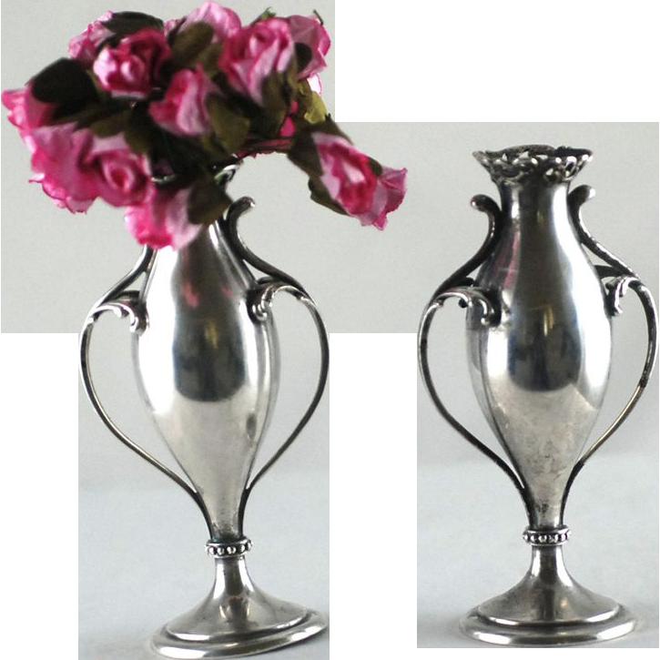 Pair Antique Sterling Silver Bud Vases – Howard – C 1890