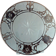 "SALE Large 10"" Sterling Overlay Trivet or Tray with Floral Design c.1890"