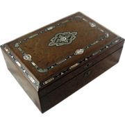 SALE Large Humidor Impressive Inlaid Burl Walnut - c 1860