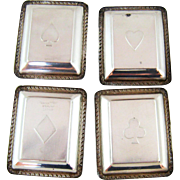 Set Four Webster Sterling Silver Trays – Playing Card Suits