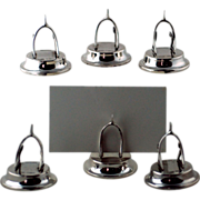 Set Six Antique Wishbone Place Card / Menu  Holders  – Birmingham 1905 - Sterling Silver