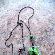 Vintage Apple Green Grape Cluster Jade Sterling Silver Necklace