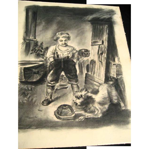 Antique Folk Art Primitive Boy & Cat Farm Barn Charcoal Drawing Art