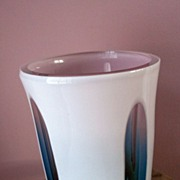 Vintage Czechoslovakian Perhaps Pink & Blue Case Art Glass Vase