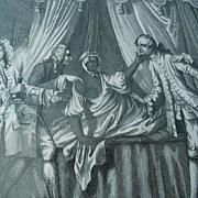 Antique William Hogarth Black Americana Boudoir Satire Engraving