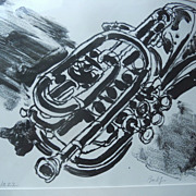 OLIVER BALF Lithograph Base Horn JAZZ Trumpet ART