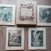 1920 Bridge Card Game Holmes Garden Etching Score Cards n Box
