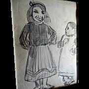 Drawing Marjorie Organ Cartoonist New York Journal Original Art